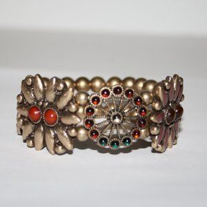 Statement gold and red bracelet 7""